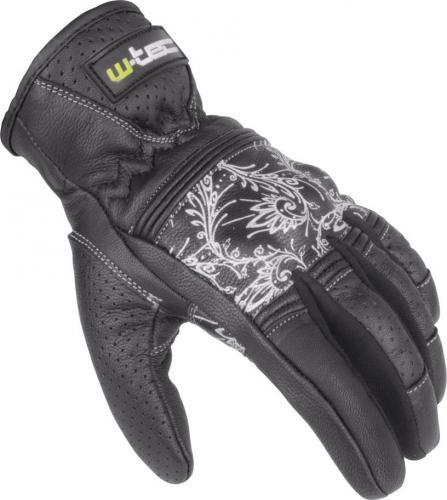 W-TEC Rękawice motocyklowe damskie skórzane NF-4206 czarno-białe r. XS (12145-XS)