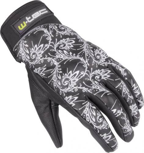 W-TEC Damskie skórzane rękawice motocyklowe NF-4208 czarno-białe r. M (12150)