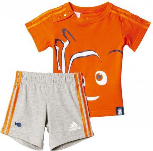 Adidas Komplet dresowy Disney Nemo Summer Set Kids pomarańczowo-szary r. 74 (AK2548)