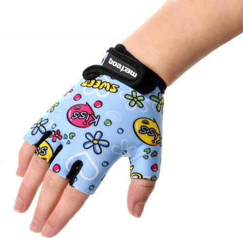 Meteor Rękawiczki rowerowe dziecięce Kids Kiss Love błękitne r. XS (24185)