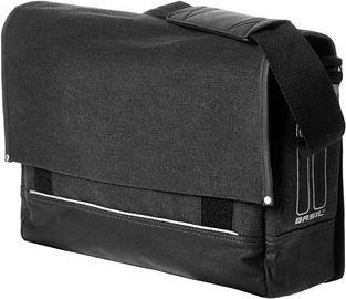 BASIL Sakwa miejska pojedyncza URBAN FOLD MESSENGER BAG 20L, mocowanie na haki, wodoodporne płótno, czarna (BAS-17619)