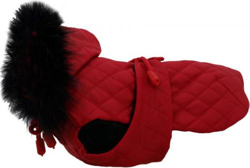 GRANDE FINALE Derka czerwona pikowana z futrem rozmiar 2 [DW12]