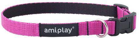 Ami Play Obroża regulowana Twist M 25-40 x 1.5cm Różowy