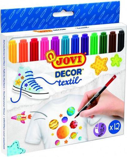 Jovi Flamastry dekoracyjne do tkanin, 12 kolorów (193808)