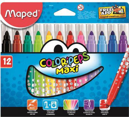 Maped Flamastry Colorpeps maxi trójkątne 12 kolorów (205572)