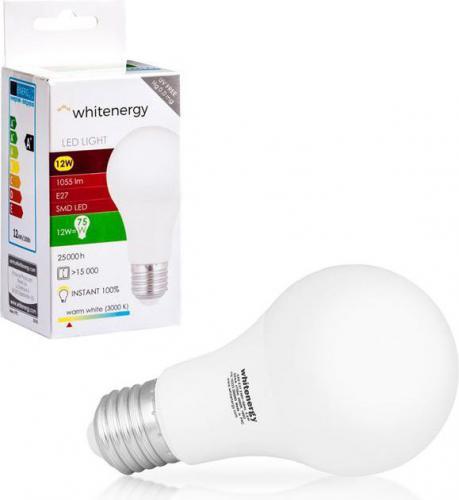 Whitenergy żarówka LED E27, 15 x SMD 2835, 12W, ciepła biała, A60 (10390)