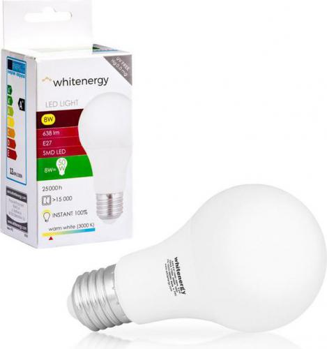 Whitenergy żarówka LED E27, 8 x SMD 2835, 8W, ciepła biała, A60 (10388)