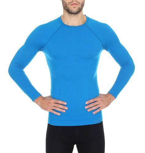 Brubeck Koszulka męska z długim rękawem Active Wool niebieska r. XL (LS12820)