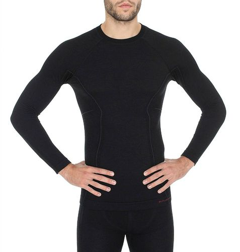 Brubeck Koszulka męska z długim rękawem Active Wool czarna r. L (LS12820)