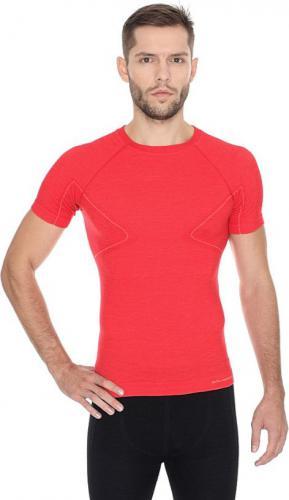Brubeck Koszulka męska z krótkim rękawem ACTIVE WOOL czerwony r. XL (SS11710)