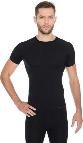 Brubeck Koszulka męska z krótkim rękawem ACTIVE WOOL czarny r. M (SS11710)