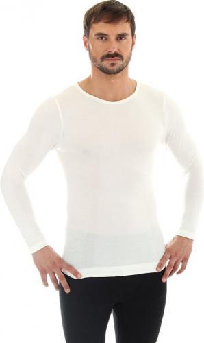 Brubeck Koszulka męska z długim rękawem COMFORT WOOL biała r. XL (LS11600)