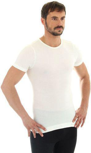 Brubeck Koszulka męska z krótkim rękawem Comfort Wool kremowa r.M (SS11030)