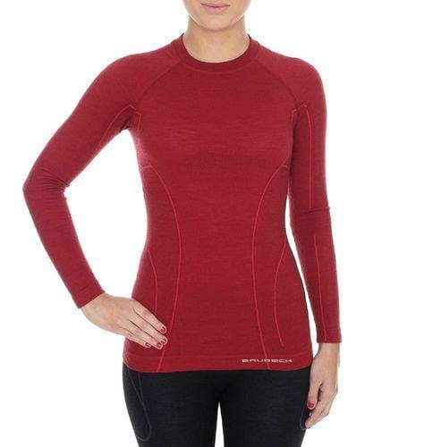 Brubeck Koszulka damska z długim rękawem ACTIVE WOOL burgundowa r. S (LS12810)