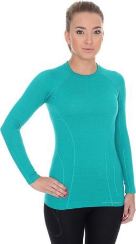 Brubeck LS12810 Koszulka damska z długim rękawem ACTIVE WOOL szmaragdowy XL - LS12810