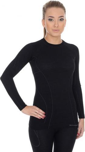 Brubeck Koszulka damska z długim rękawem ACTIVE WOOL czarna r. S (LS12810)