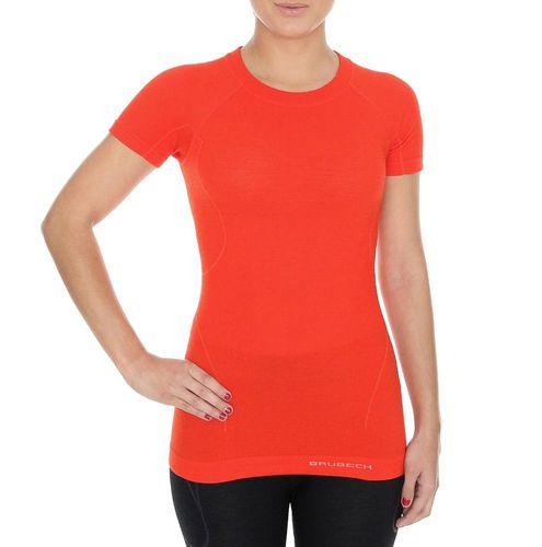 Brubeck Koszulka damska z krótkim rękawem Active Wool pomarańczowa r. XL (SS11700)