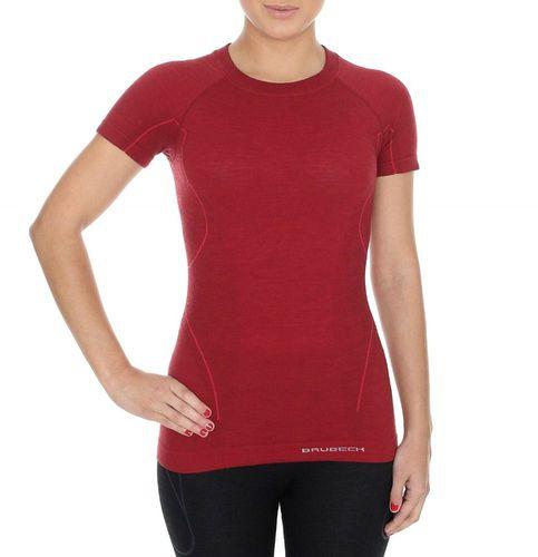 Brubeck Koszulka damska z krótkim rękawem ACTIVE WOOL bordowa r. S (SS11700)