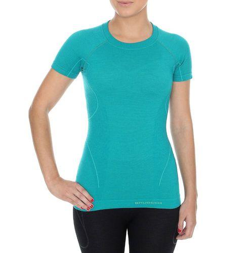 Brubeck Koszulka damska z krótkim rękawem ACTIVE WOOL turkusowa r. S (SS11700)