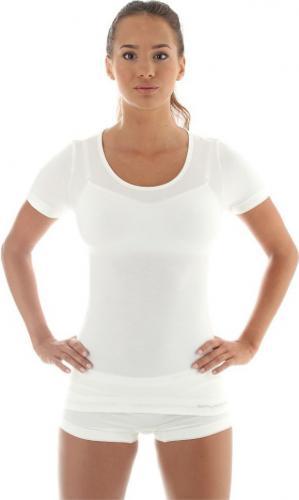 Brubeck Koszulka damska z krótkim rękawem COMFORT WOOL biała r. S (SS11020)
