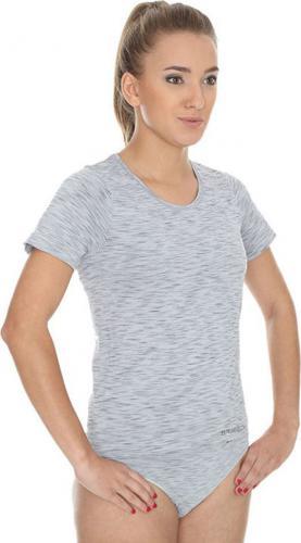 Brubeck Koszulka damska z krótkim rękawem Fusion szara  r. XL (SS11570)