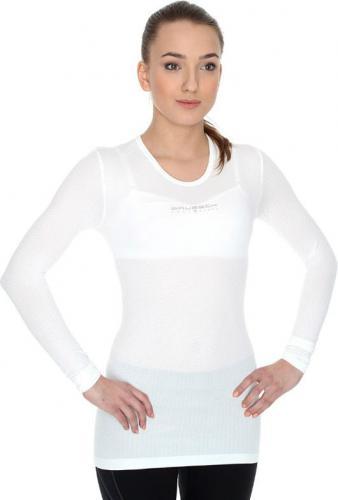 Brubeck Koszulka unisex z długim rękawem biała r. S (LS10850)