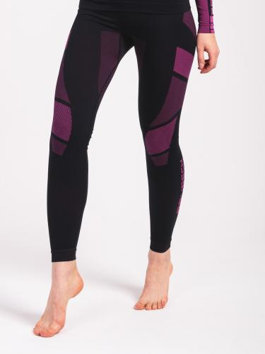 Brubeck Spodnie termoaktywne damskie Dry czarno-fioletowe r. XL (LE11850)