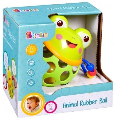 BamBam Kula gumowa z grzechotką żaba (254574)