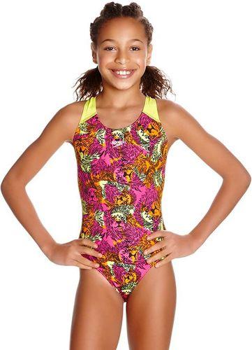 Speedo Strój kąpielowy dziewczęcy Electric Ball Allover Splashback żółto-różowy r. 152 (807386B769)
