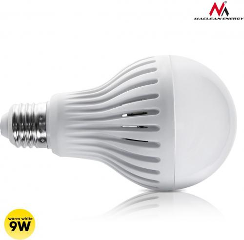 Maclean Żarówka LED E27, 9W, 230V, ciepły biały, mikrofalowy czujnik ruchu (MCE177WW)