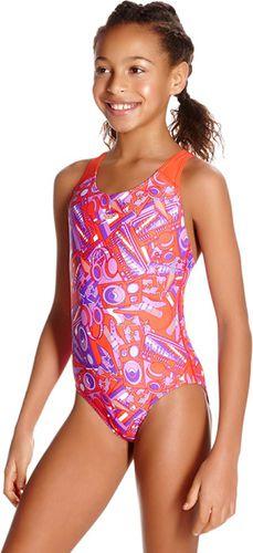 Speedo Strój kąpielowy dziewczęcy Lunar Pop Allover Splashback  fioletowo-pomarańczowy r. 176 (807386B793)