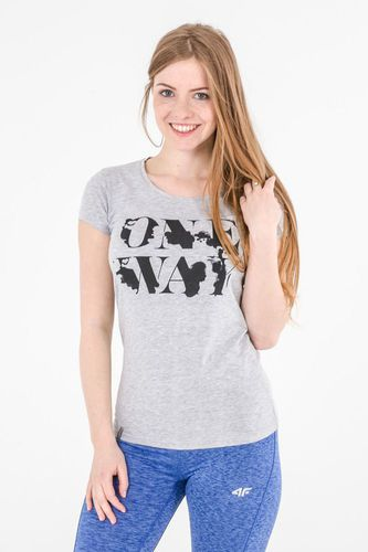 4f Koszulka damska jasny szary melanż r. M (H4L17-TSD013)