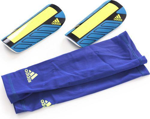 Adidas Ochraniacze piłkarskie Nitrocharge + getry kompresyjne niebiesko-zielone r. XL (G73376)
