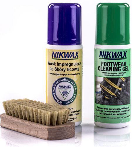 Nikwax Zestaw do pielęgnacji obuwia ze skóry licowej Cleaning Gel/Waterproofing Wax Nikwax  roz. uniw (060001)
