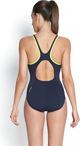 Speedo Strój kąpielowy Monogram Muscleback Endurance+ Speedo granatowo-żółty roz. 34 (8-08733A145)