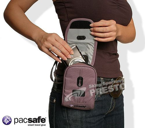 Pacsafe Antykradzieżowa saszetka na telefon i aparat VentureSafe 50 wrzosowy uniw - 688334002725
