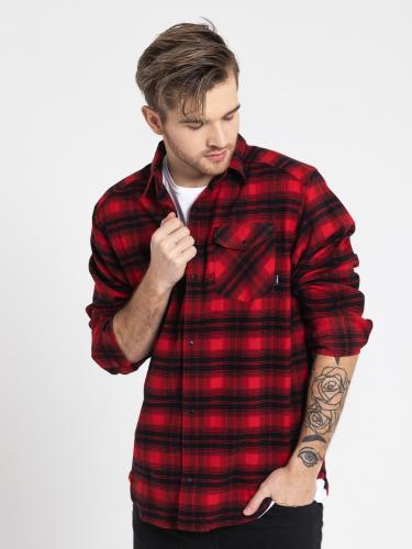 Adidas Koszula męska Stretch Flannel Shirt  czerwono czarna r. S (BR7936)