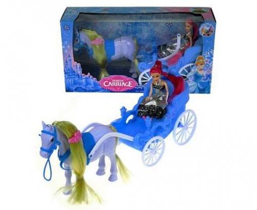 Hipo Koń z karocą 32cm i lalką w pudełku (HKE05)