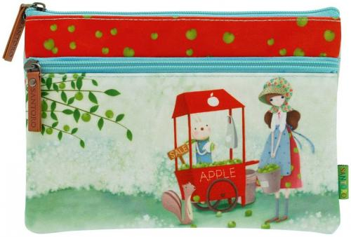 SANTORO Płaska saszetka z dwoma suwakami - An Apple A Day (252555)