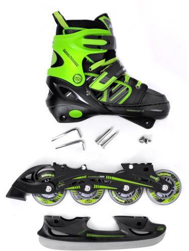 SMJ sport 2w1 łyżwy+rolki regulowane CRK41 ALDER czarno-zielone r. 34-37