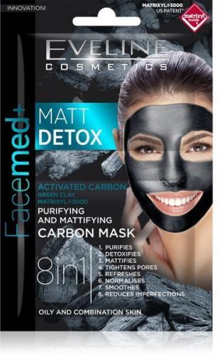 Eveline  Facemed+ Matt Detox Maska węglowa 8w1 oczyszczająco-matująca  2x5ml