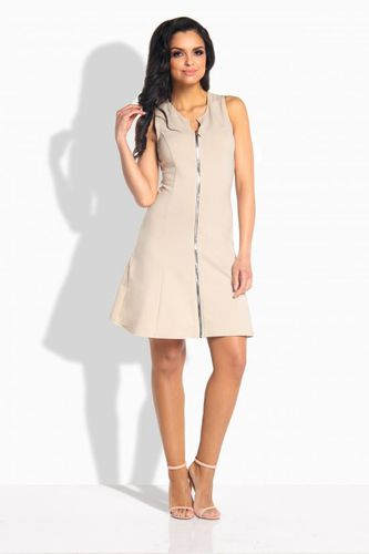 Lemoniade Kobieca sukienka z zamkiem z przodu beżowa r. S (L183)