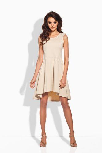 Lemoniade Elegancka rozkloszowana sukienka L127 beżowa r. L