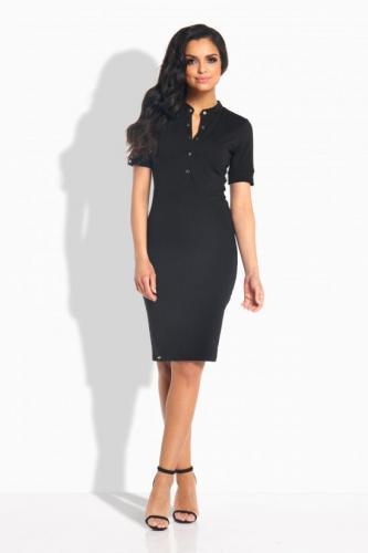 Lemoniade Elegancka dopasowana sukienka z guziczkami czarna r.S (L191)