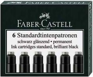Faber-Castell NABOJE ATRAMENTOWE KRÓTKIE CZARNE 6 SZT. KARTONIK (185507 FC)