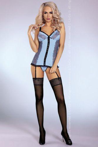 LivCo Corsetti Gorset Leyla Sensual Collection niebieski r. S/M + stringi GRATIS!