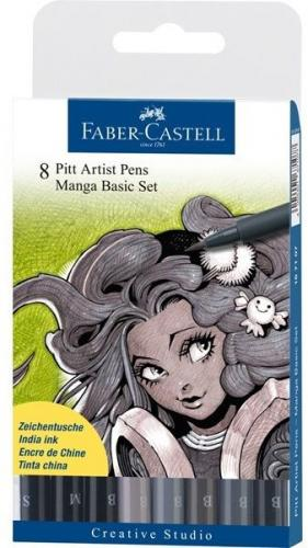 Faber-Castell Zestaw pisaków Pitt Artist Brush Manga, 8szt. (167107 FC)