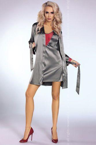 LivCo Corsetti Koszulka Platinum Red + szlafrok + stringi GRATIS! szary r. S/M