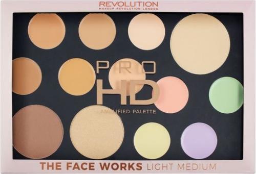 Makeup Revolution Pro HD Palette The Face Works Zestaw do makijażu twarzy light/medium
