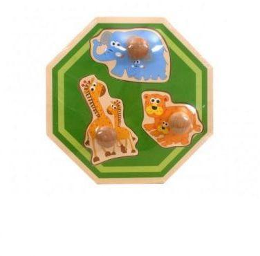 Playme Układanka drewniana ośmiokątka - Zwierzęta  (268257)